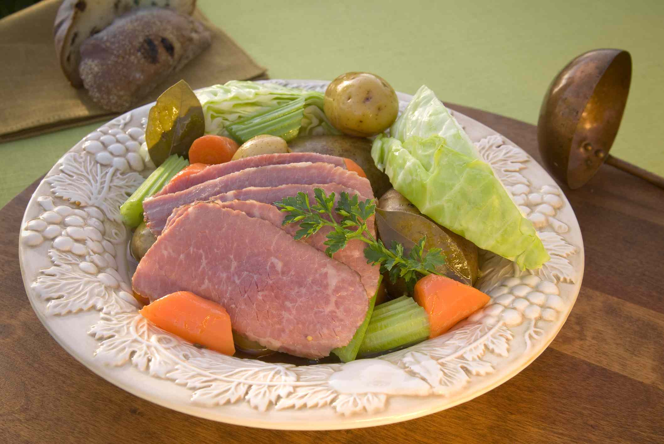 Corned beef and cabbage in a large decorative bowl