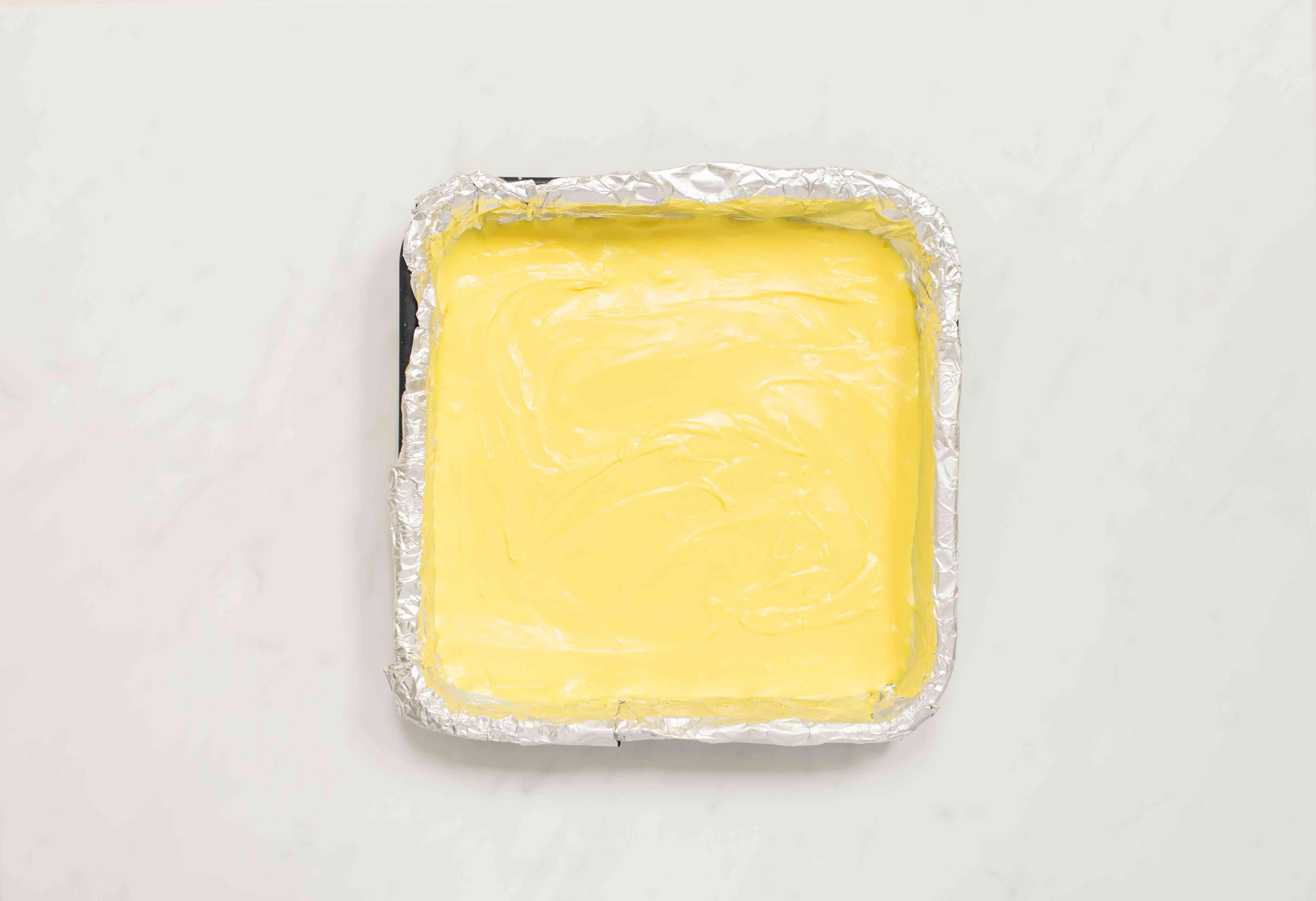 Pour fudge into pan