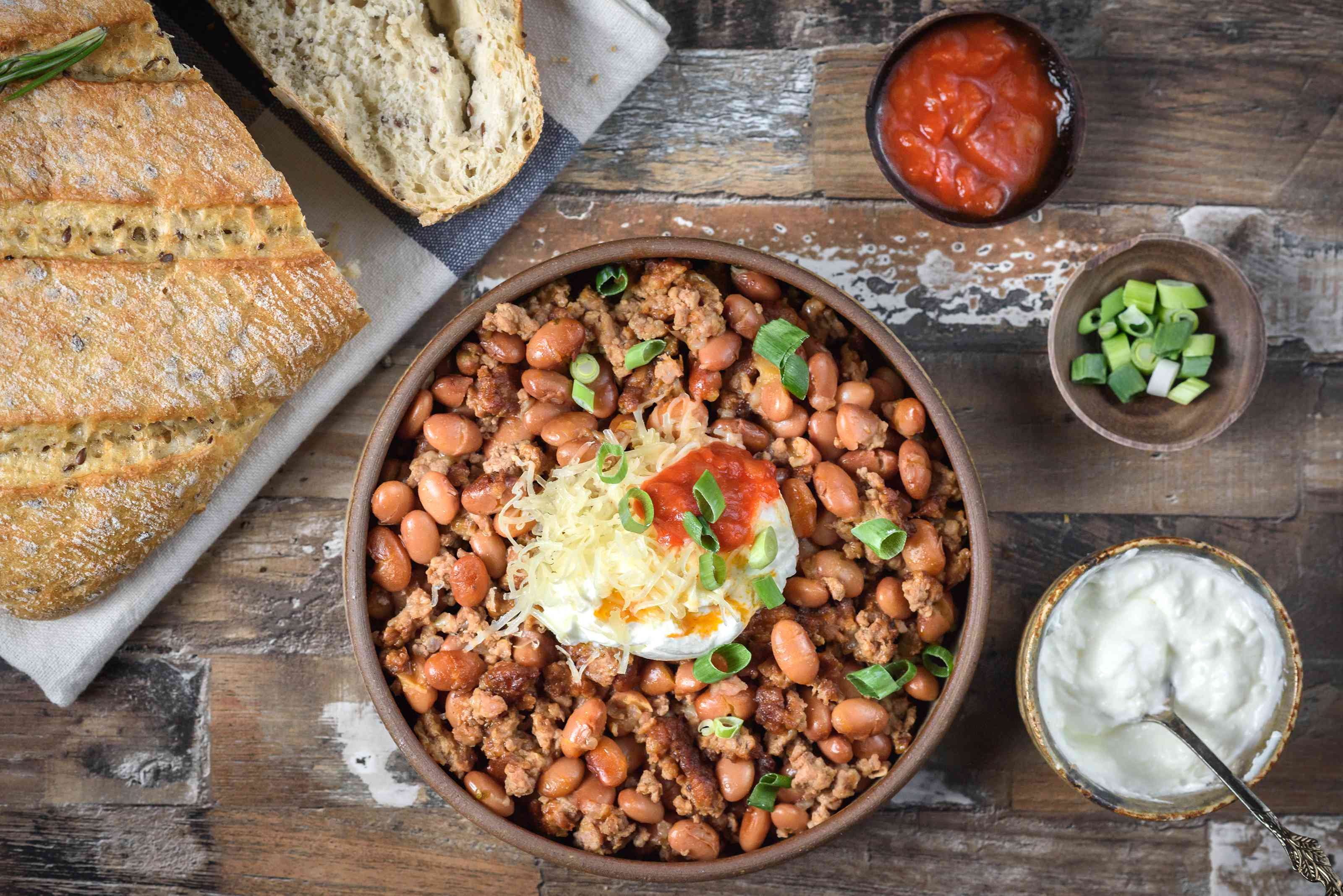 Slow cooker chili beans with ground beef