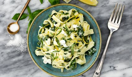 Goat cheese pasta with lemon, garlic, basil, and spinach.