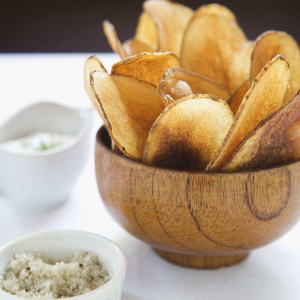 Grilled Potato Chips With Garlic Aioli