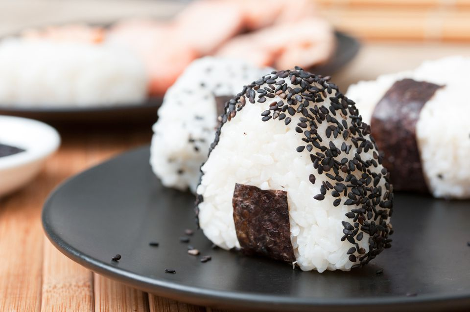 Onigiri with black sesame seeds