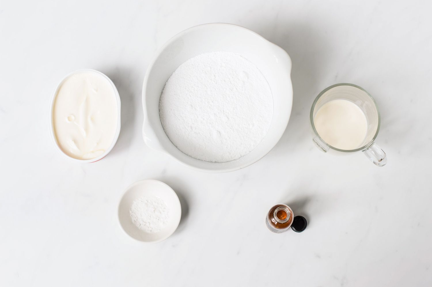 Ingredients for basic cream cheese frosting without butter
