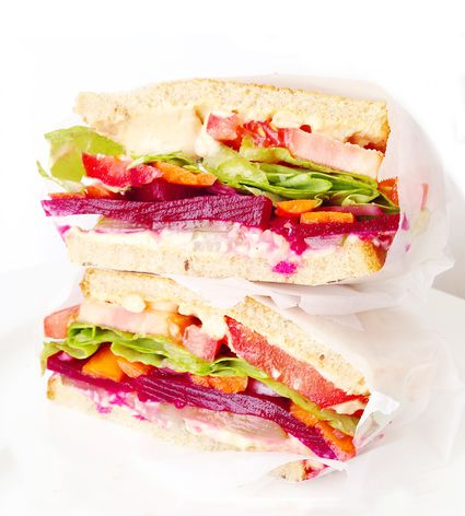 Hummus and Pickled Vegetable Sandwich