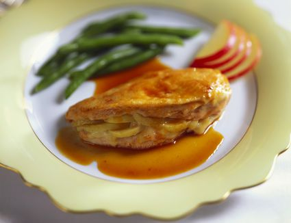 A plate of Brie- and apple-stuffed chicken breasts