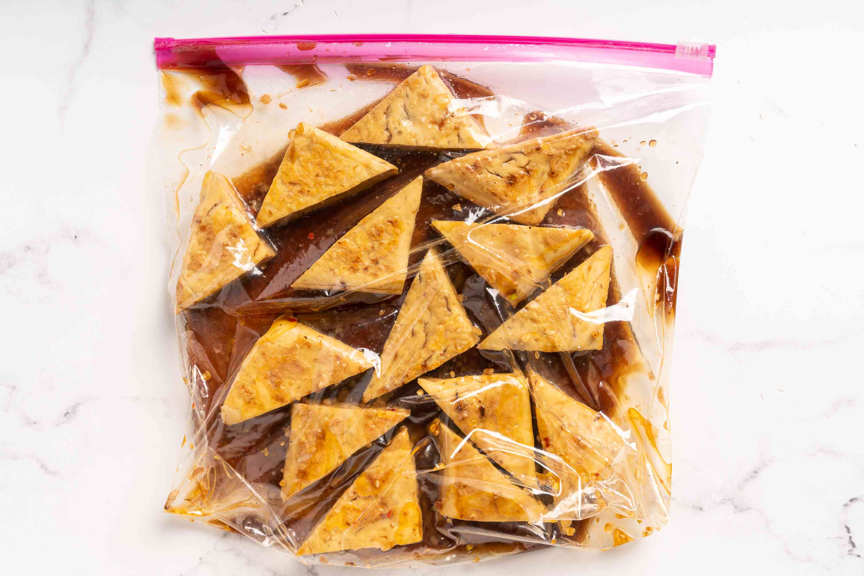 tofu and marinade in a plastic bag