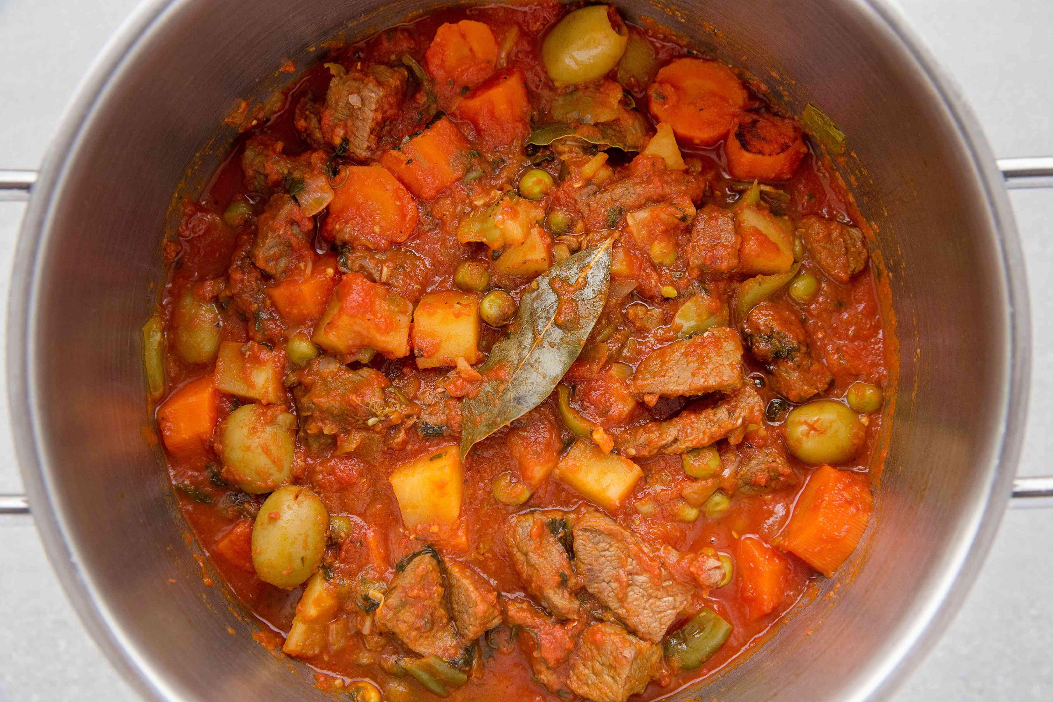 Caribbean Beef Stew (Carne Guisada) in a pot