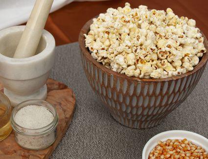 oil popped popcorn seasoned with fine truffle salt
