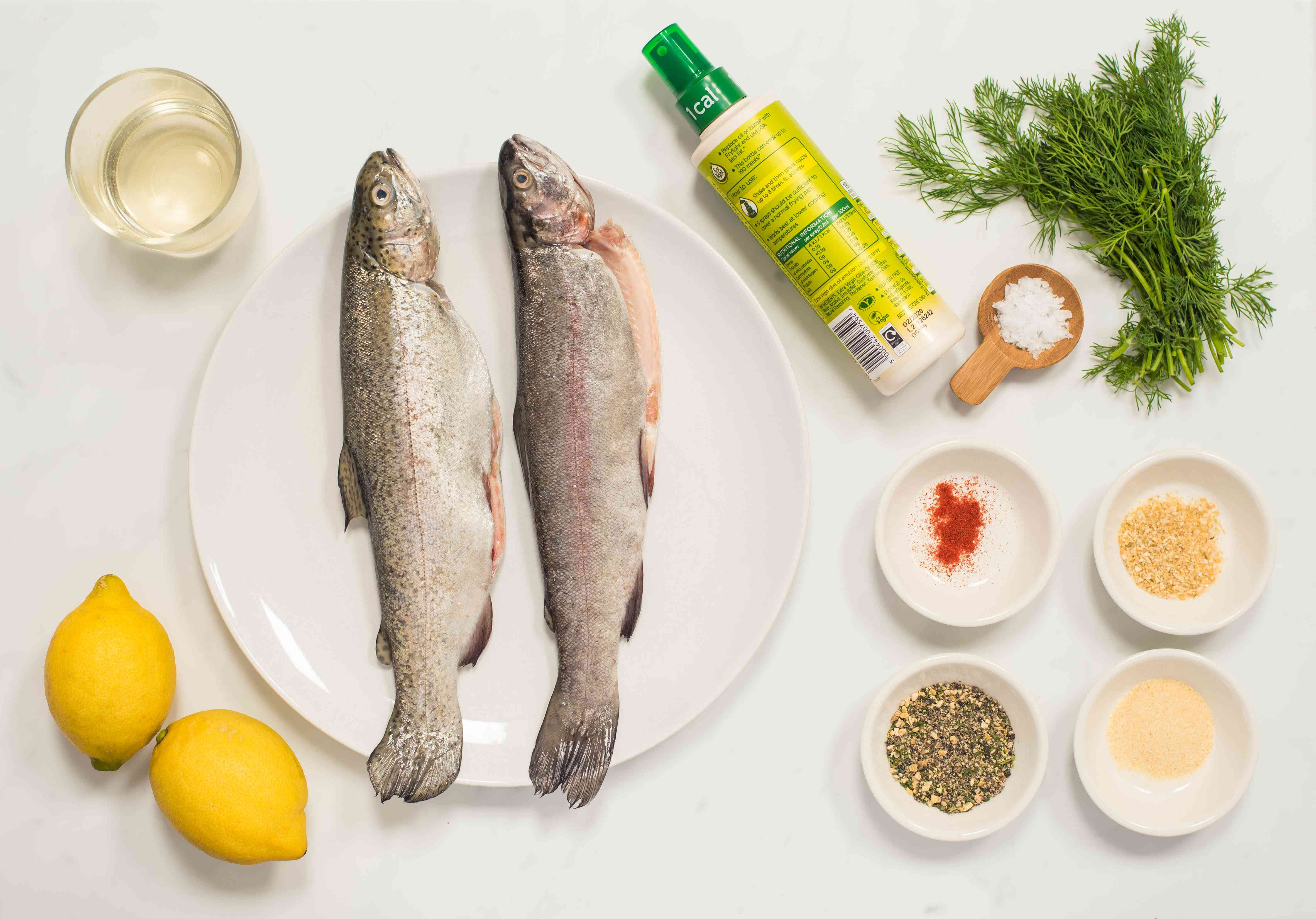 Ingredients for baked whole trout