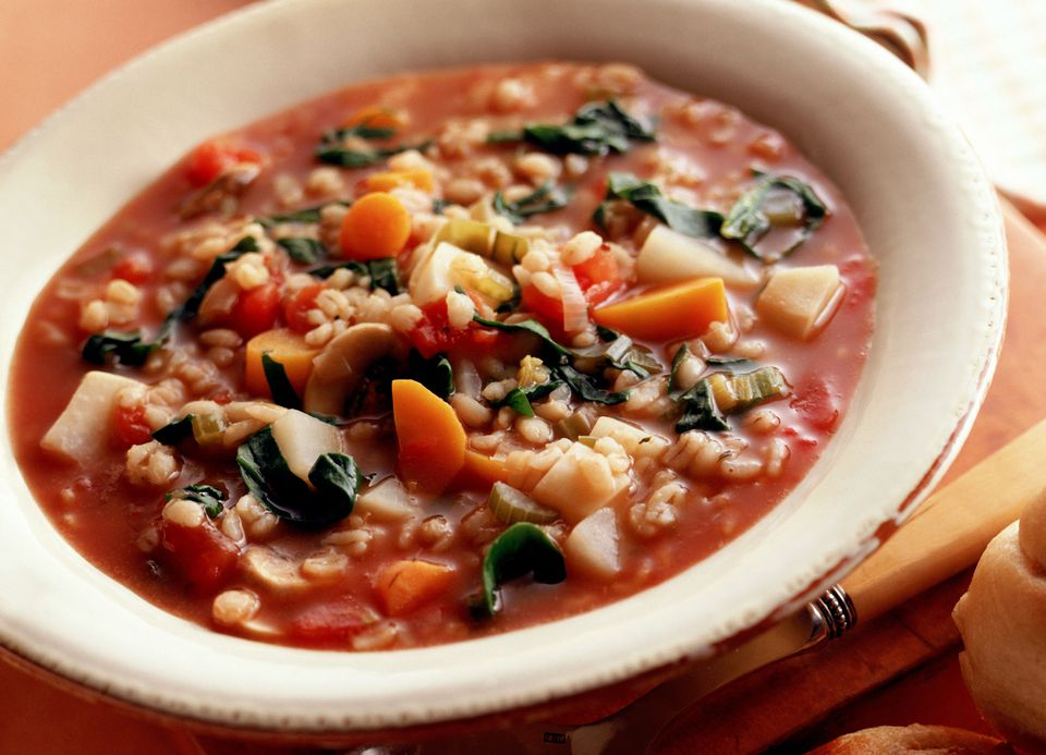 Barley tomato soup with vegetables
