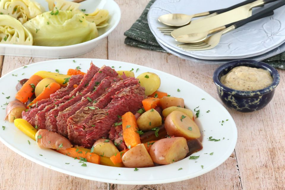 Corned beef and vegetables on a platter.