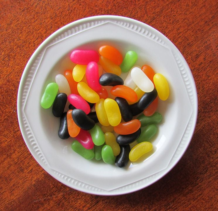 jelly beans on white dish