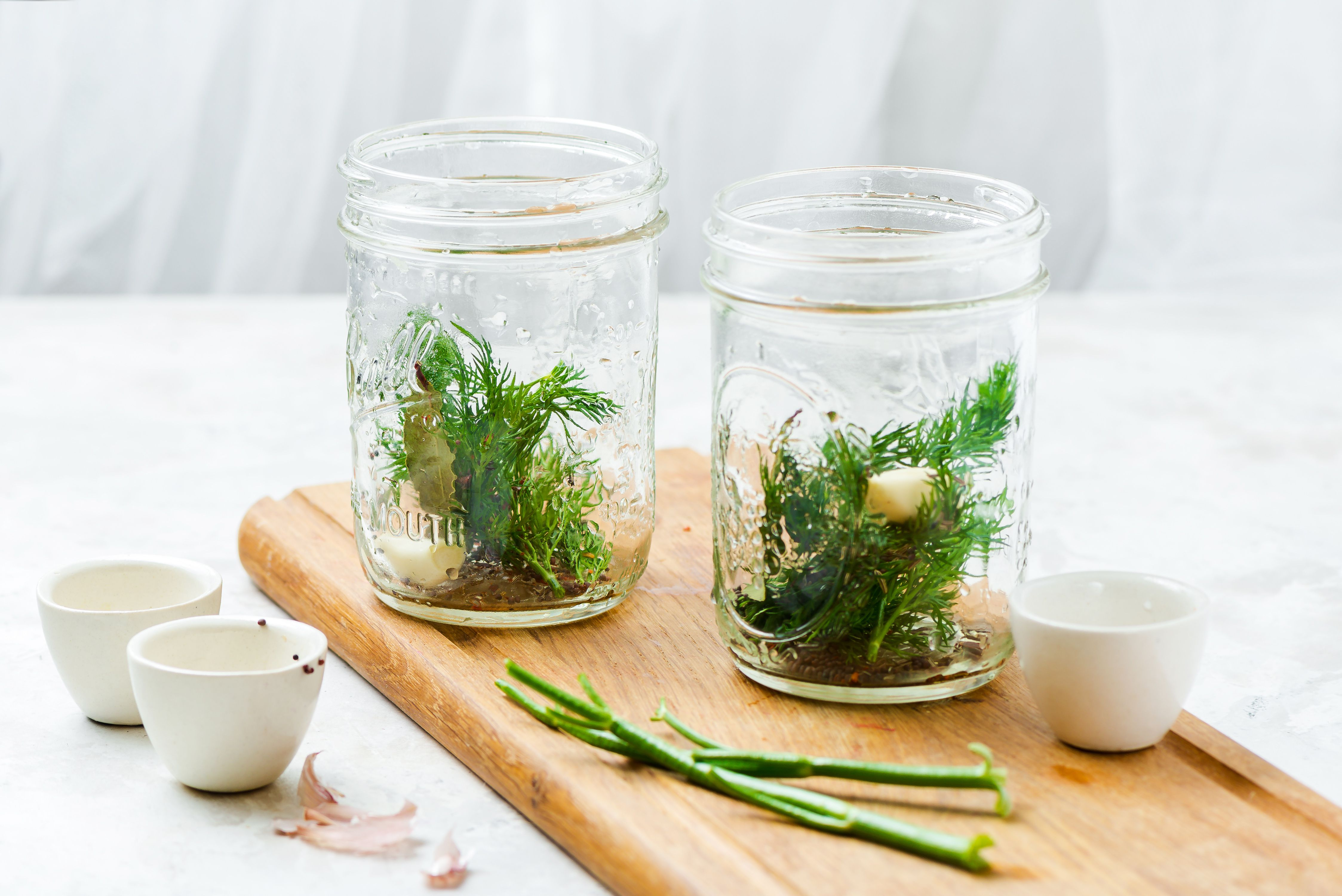 Divide herbs and spices into jars