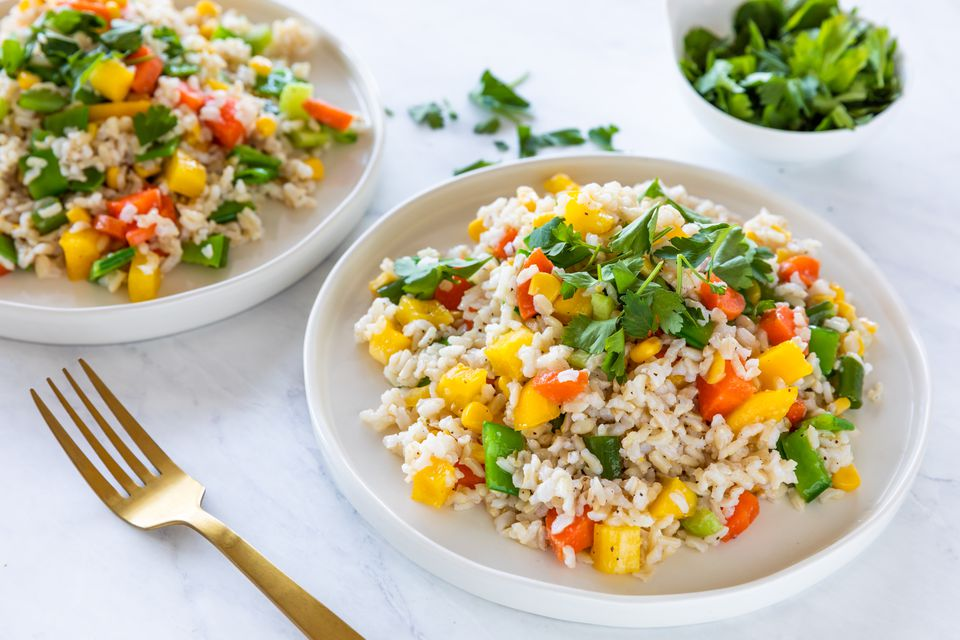 Cold asian rice salad