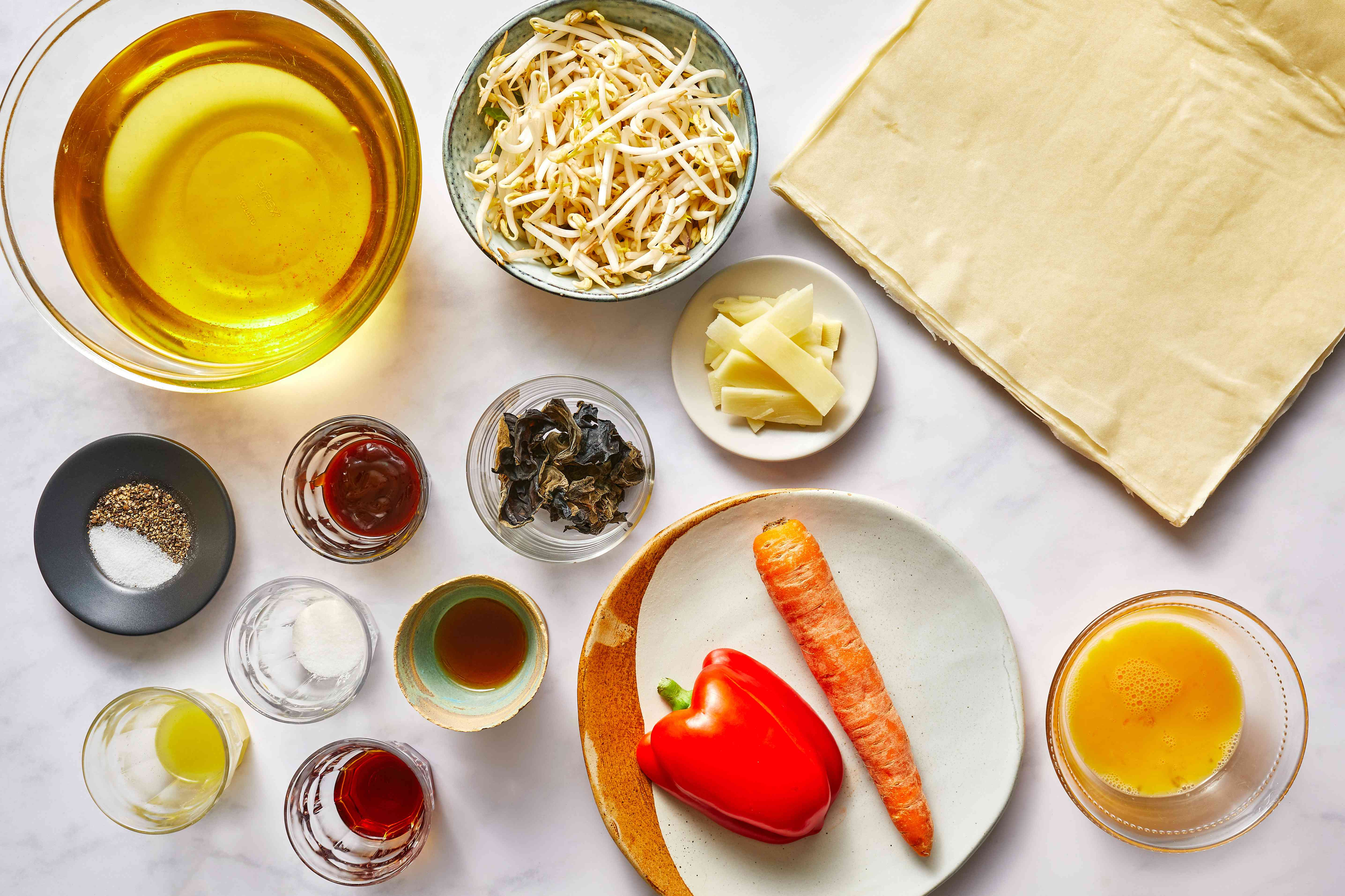 Chinese Vegetable Spring Rolls filling ingredients