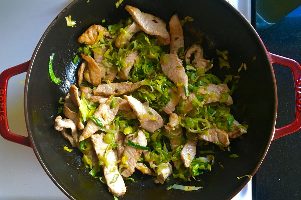 Leek & Pork Stir-Fry in pan