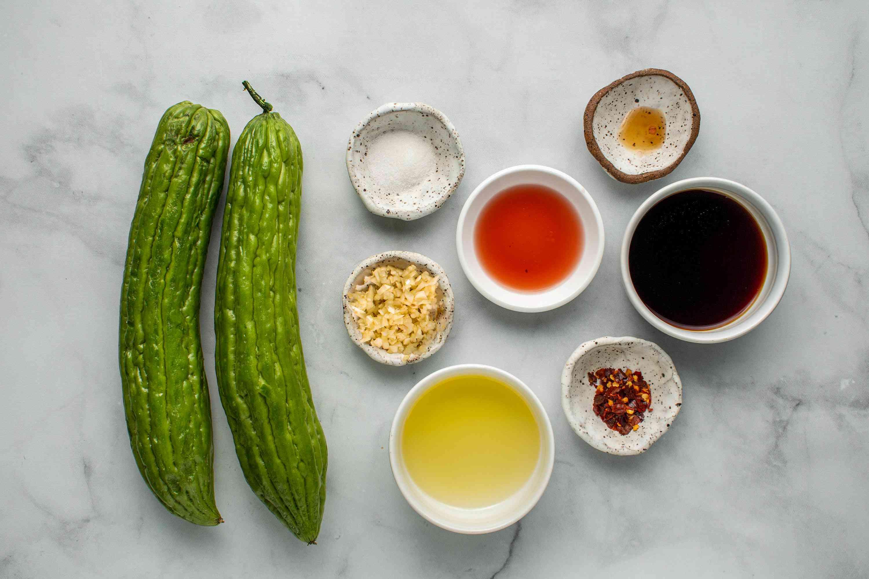 Bitter Melon stir-fry ingredients