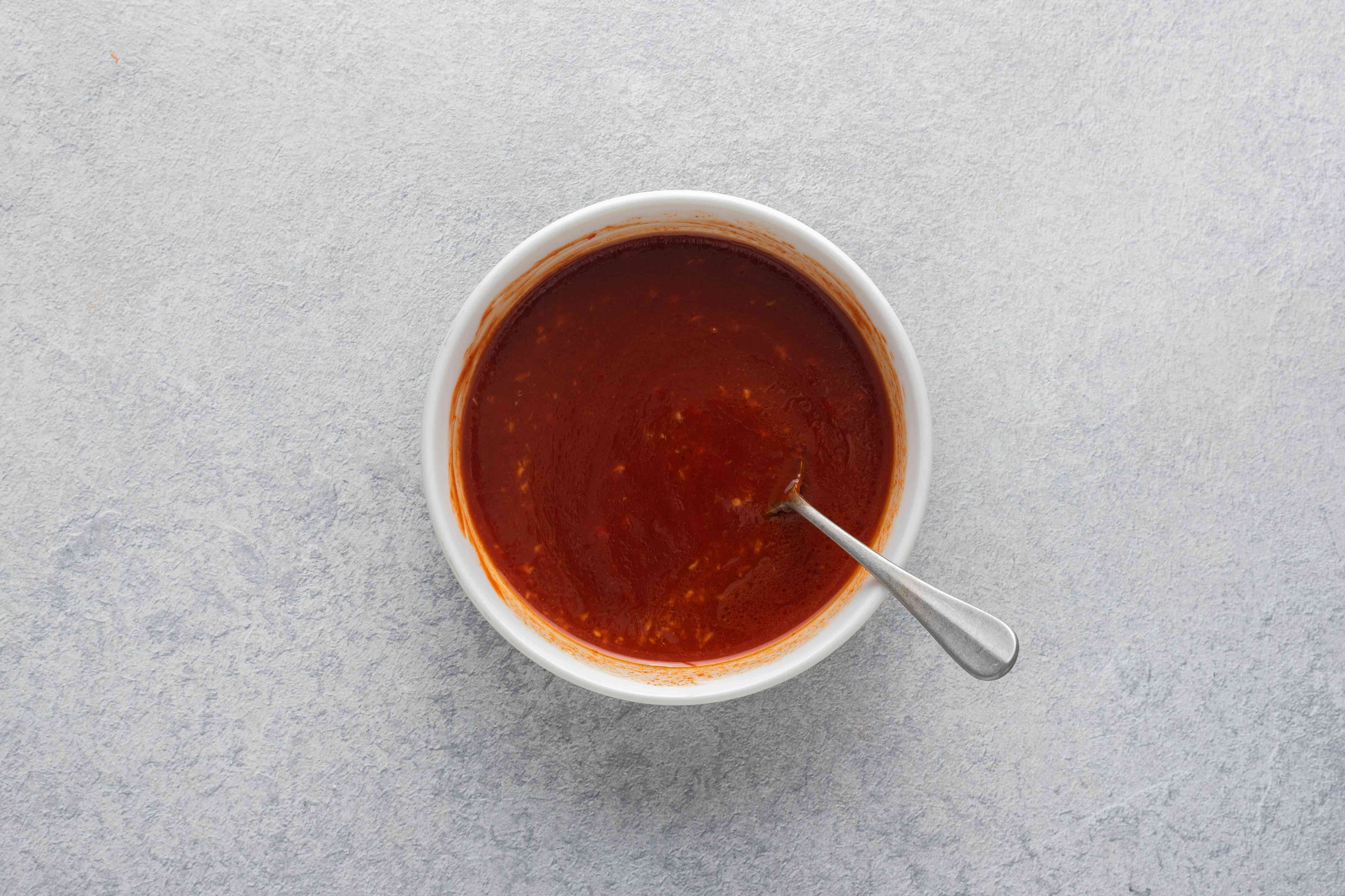 Spicy and Sweet Korean Chogochujang Dipping Sauce ingredients together in a bowl