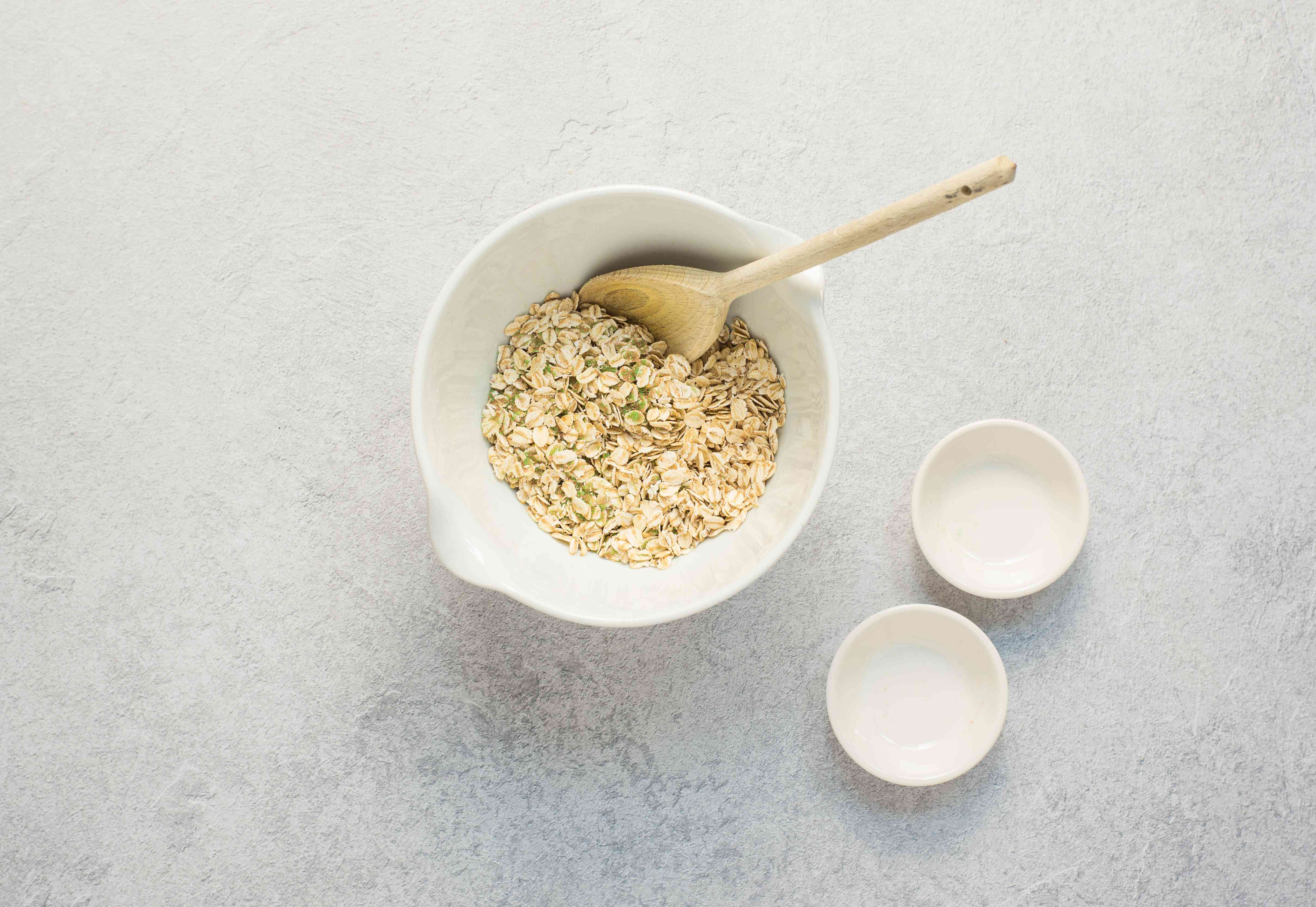 Mixed together rolled oats
