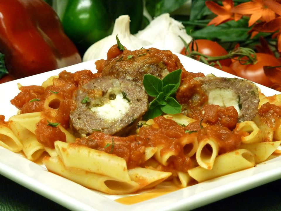 Mozzarella Stuffed Meatballs with Vodka Sauce Recipe