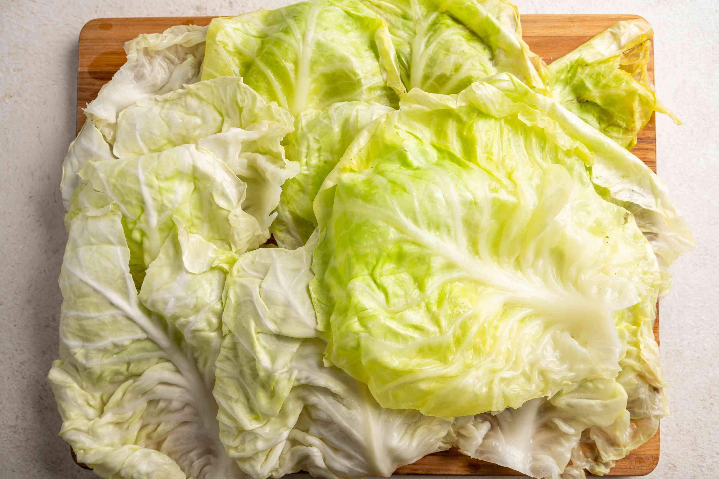 Drain cabbage and separate the cabbage leaves taking care not to tear them