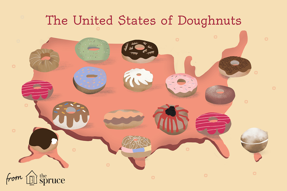 illustration of doughnuts overlaid on top of the United States