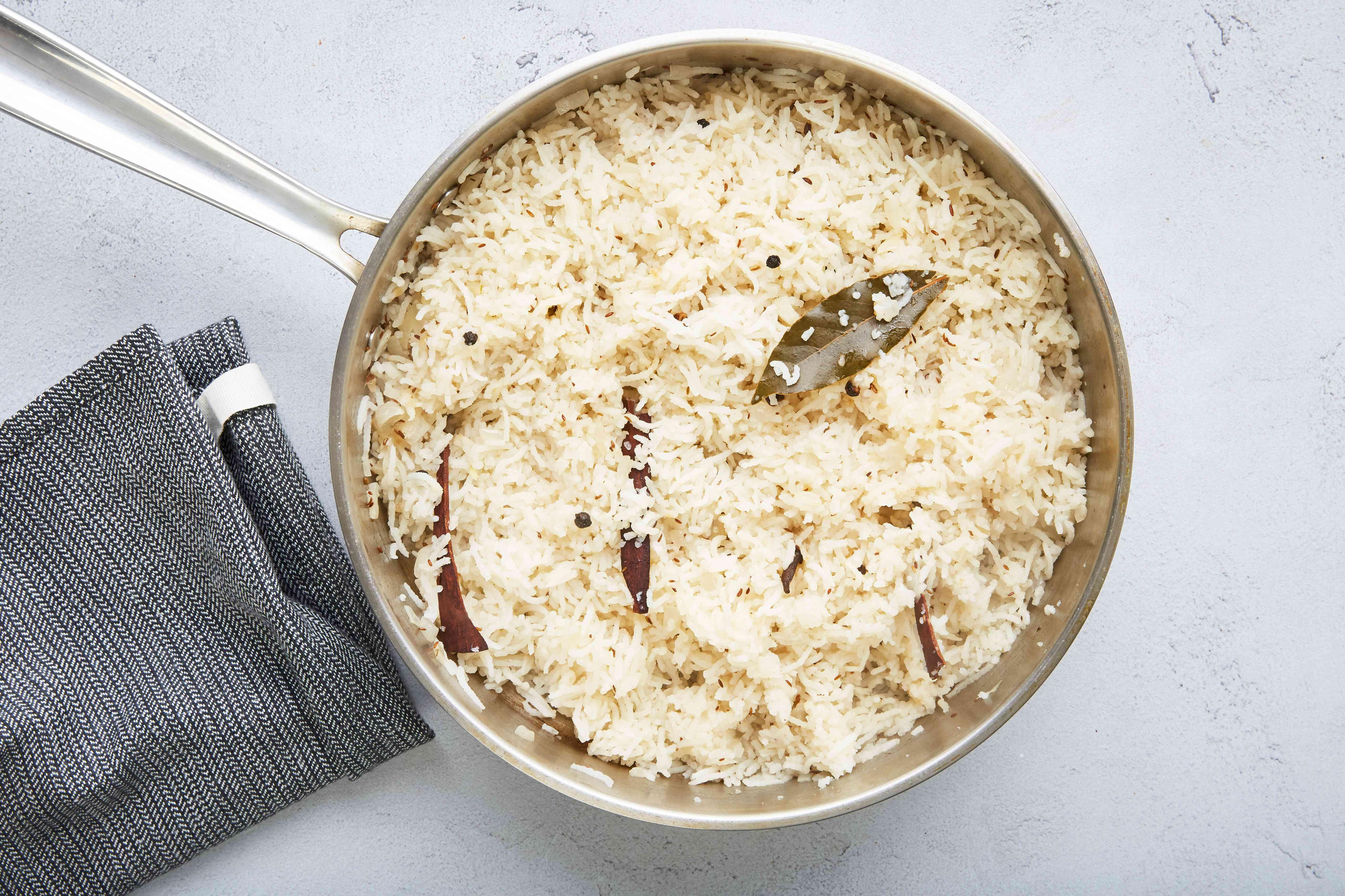 Fluffy Indian basmati rice in a pot