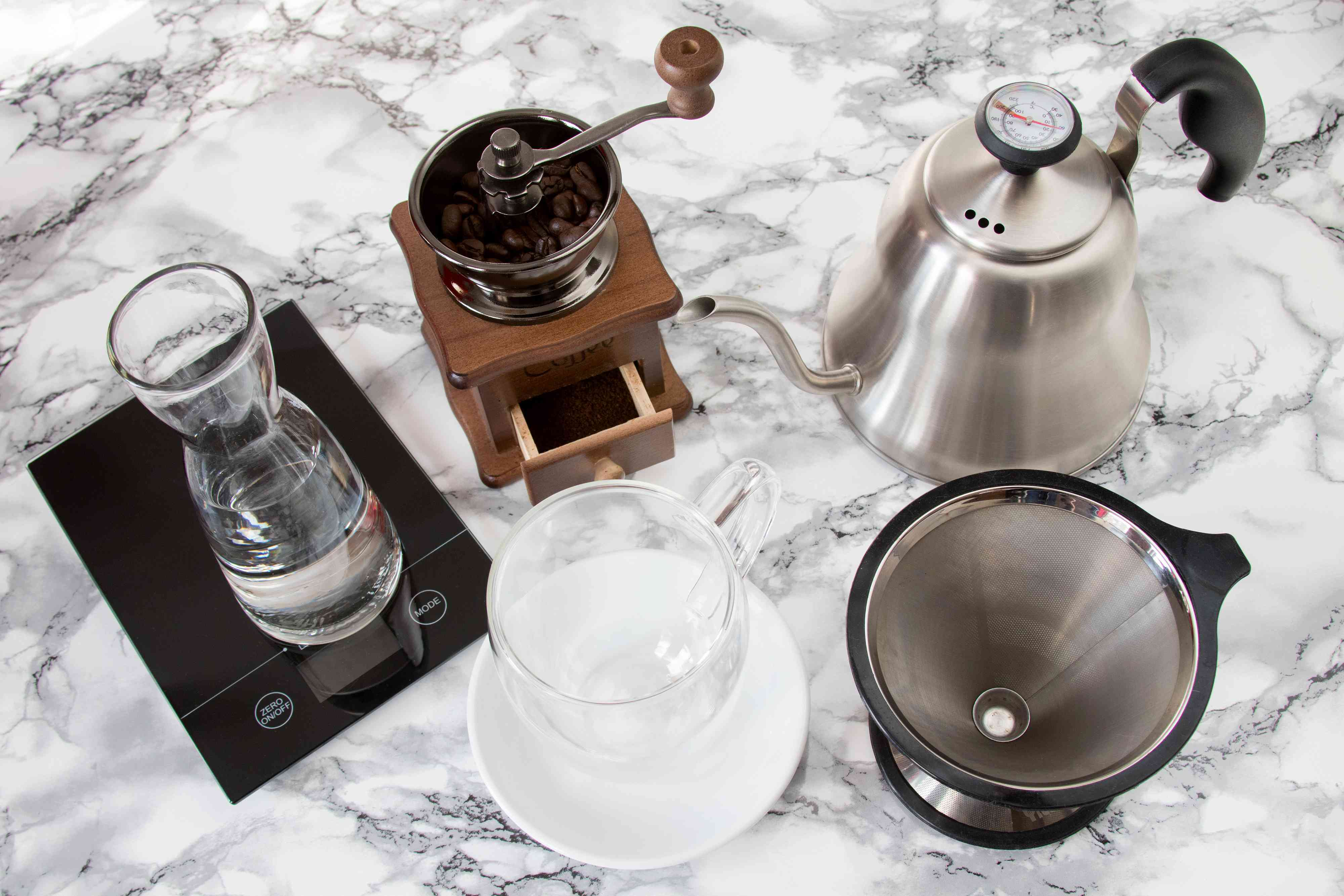 Ingredients and Tools to Brew Pour-Over Coffee