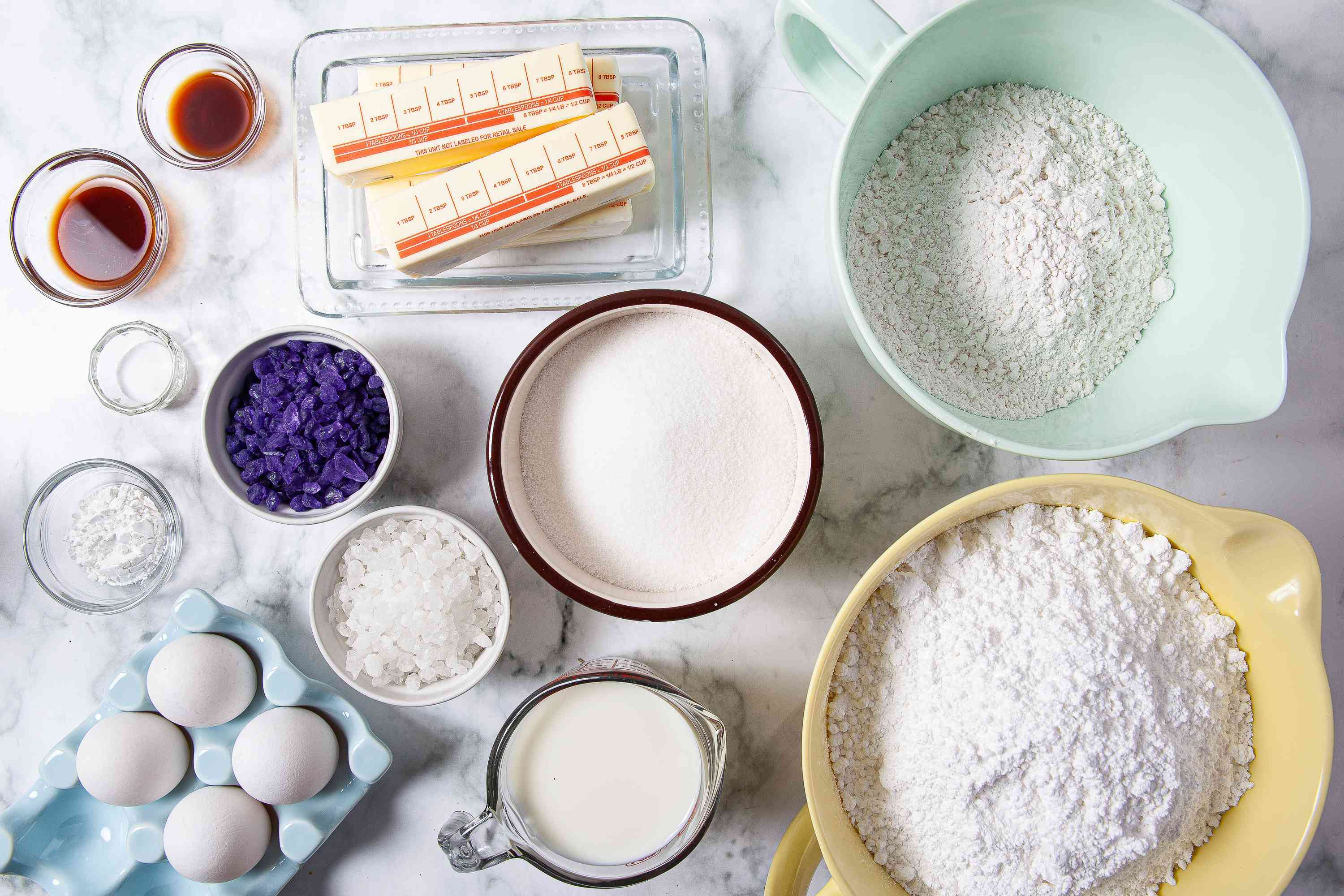 Ingredients for making a geode cake