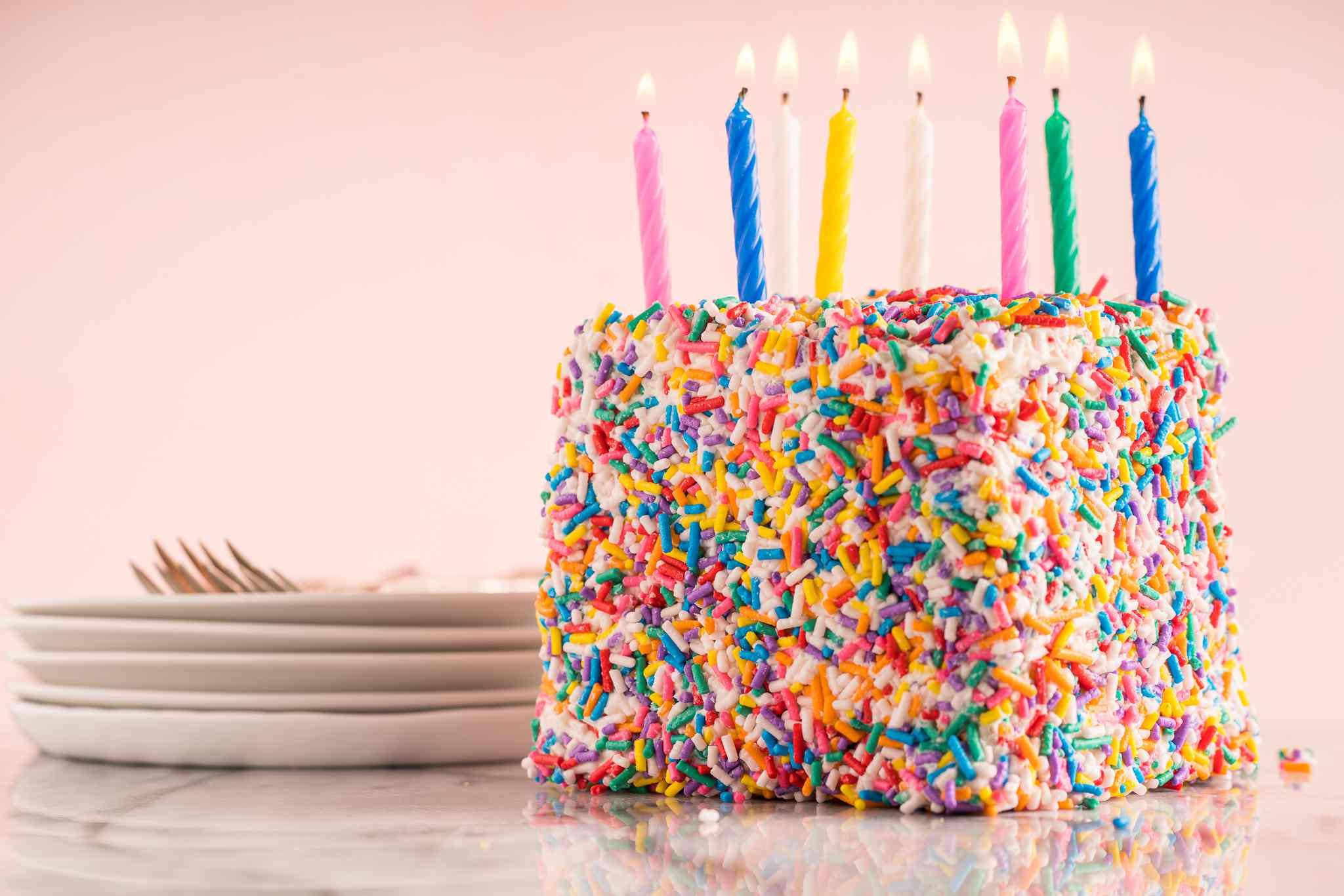 Funfetti Waffle Birthday Cake with candles