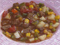 A picture of vegetable beef soup kids will actually eat
