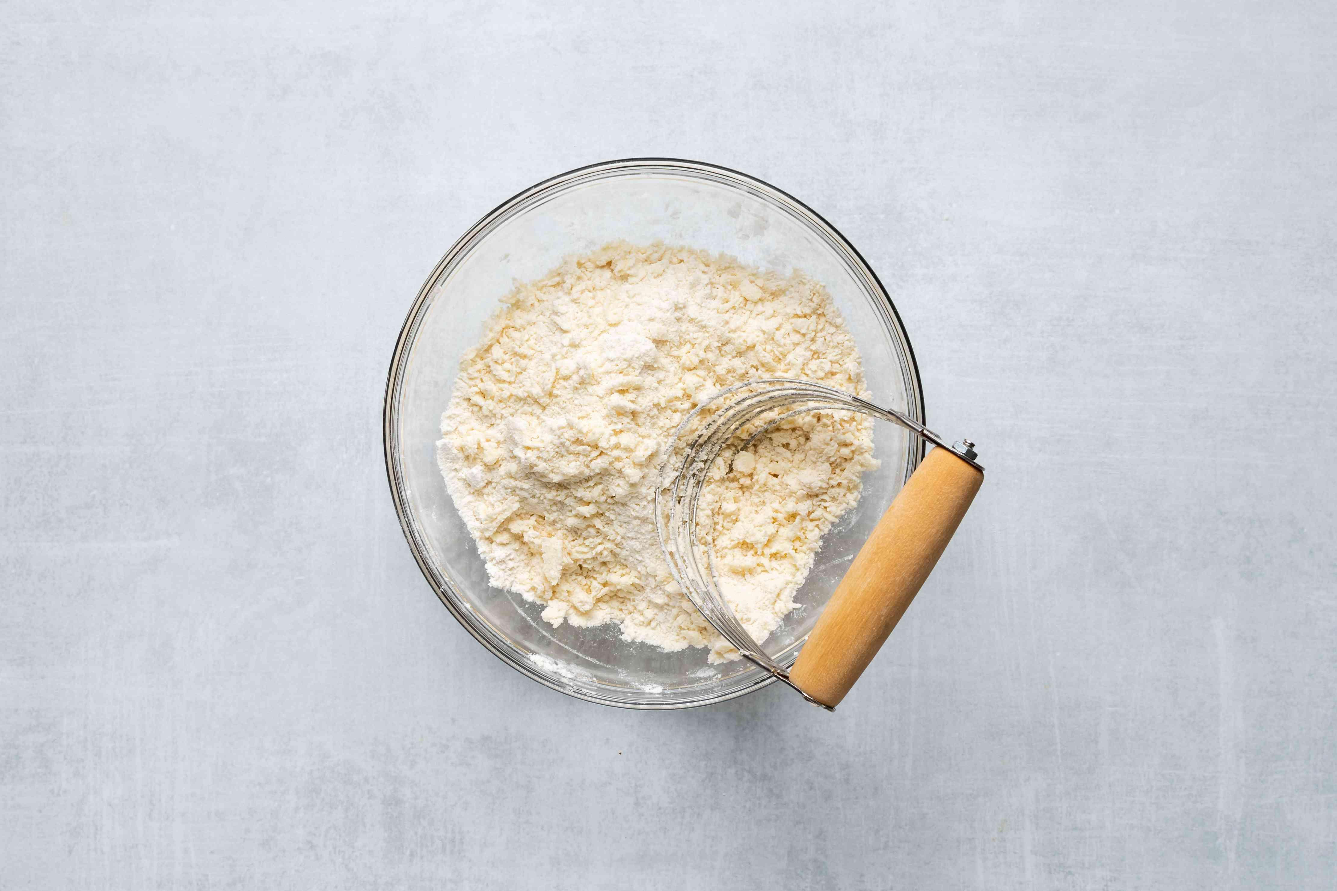 cut butter into the flour mixture