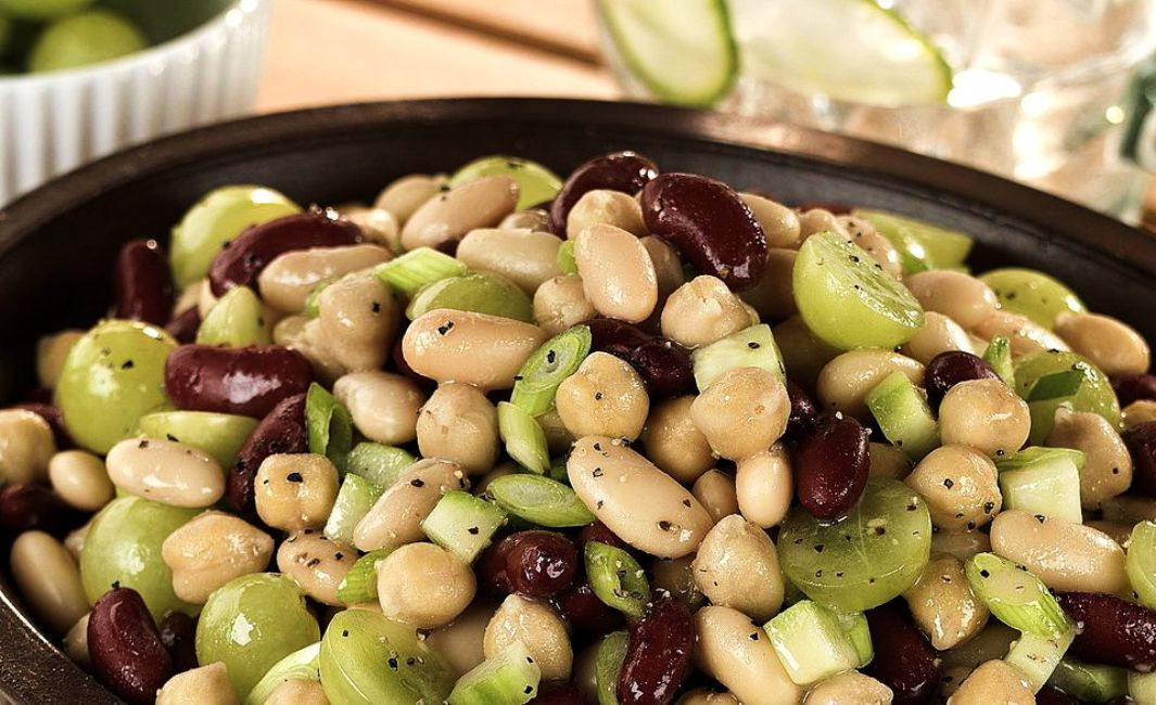 Vegetarian Three Bean and Grape Salad