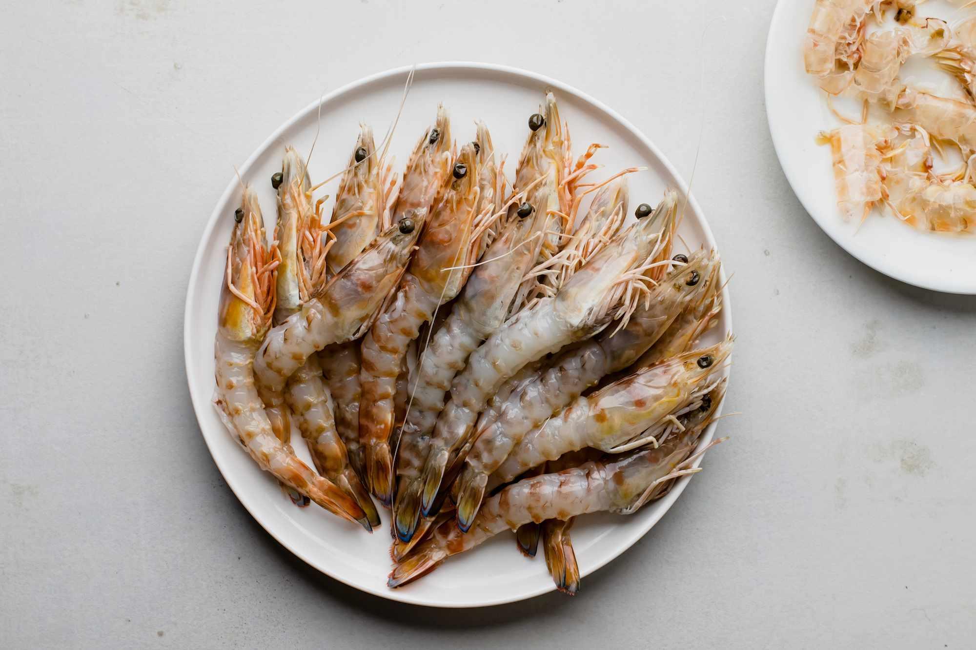 Prepared prawns on a plate
