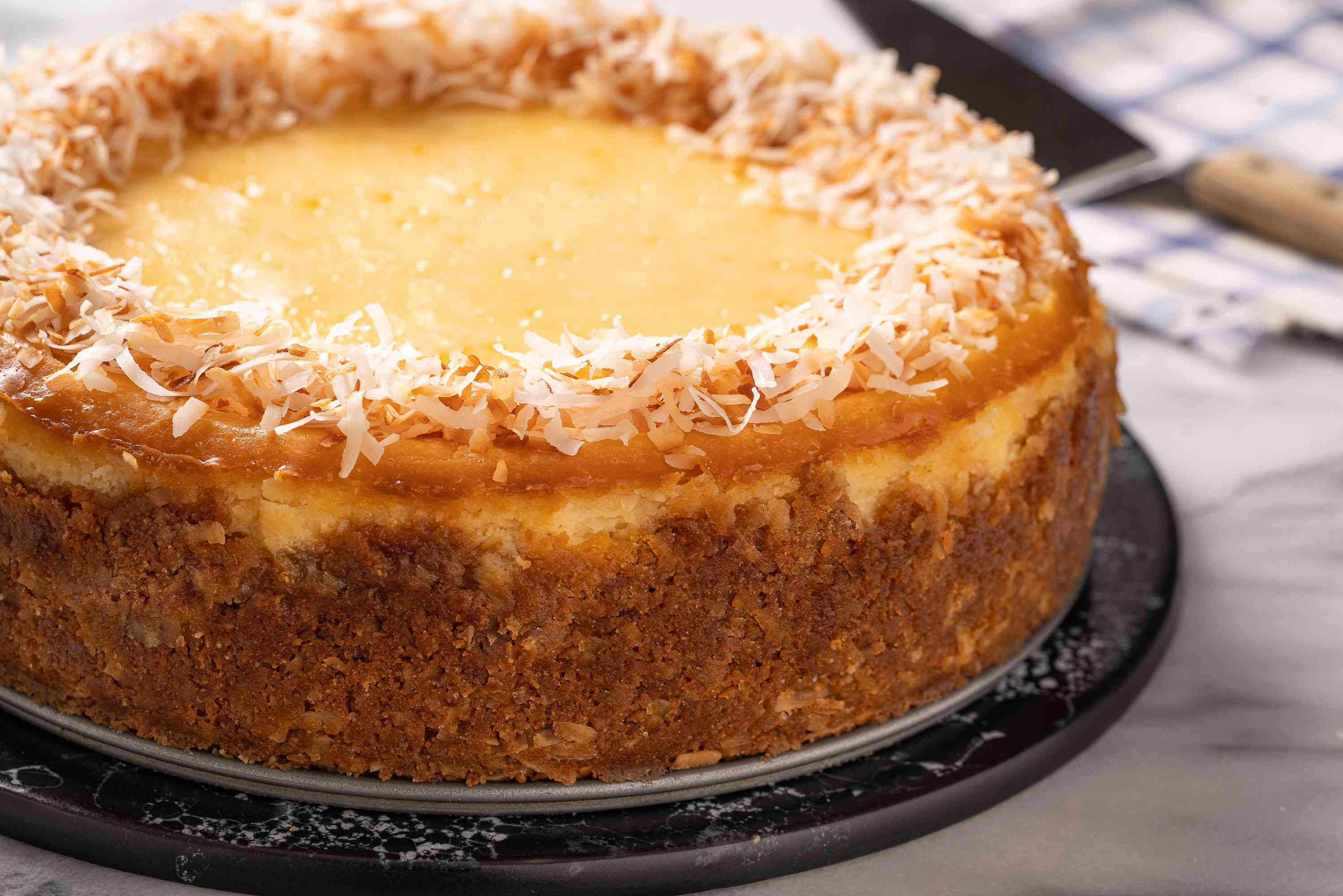 Coconut cheesecake on a serving plate