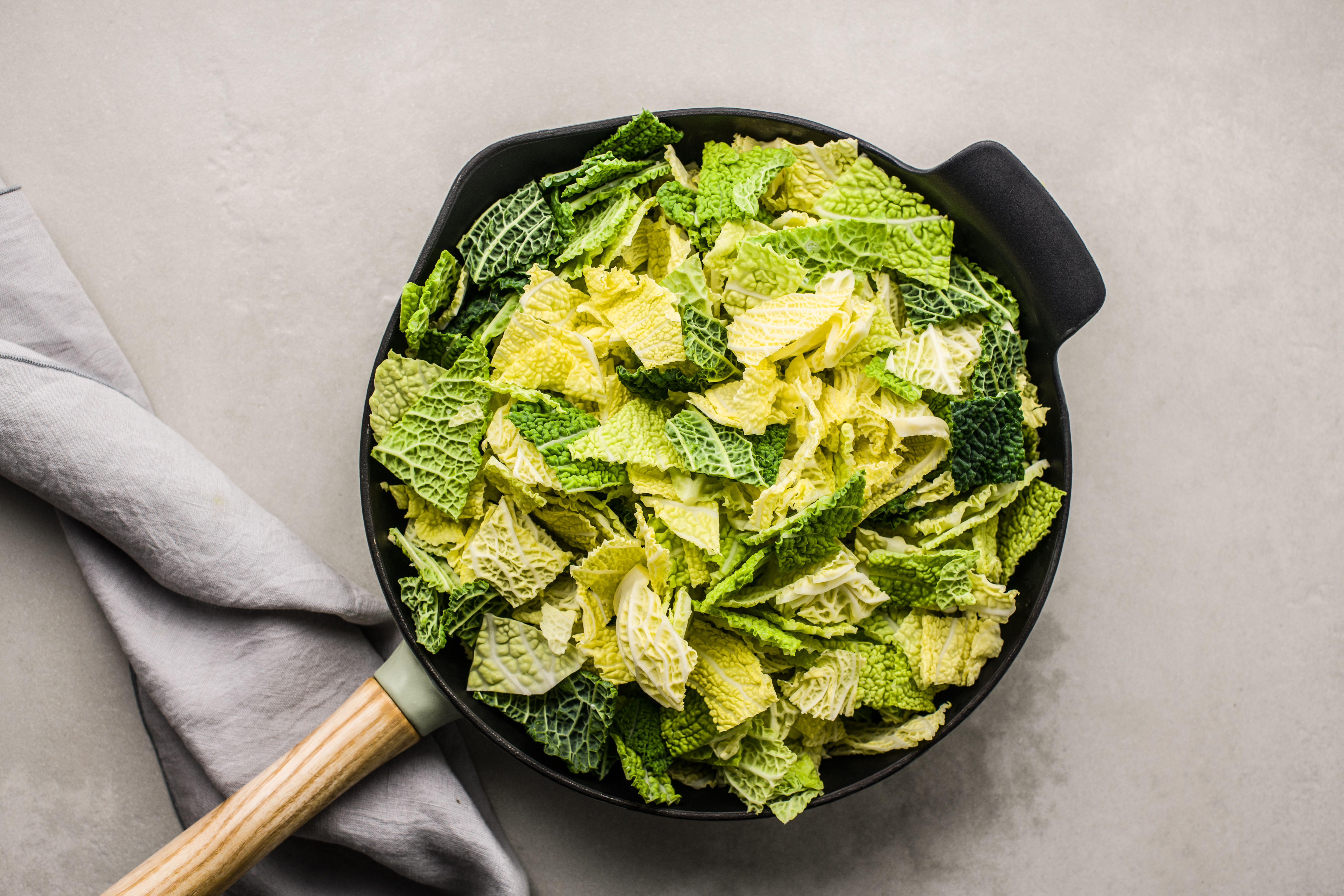 Add cabbage to the pan