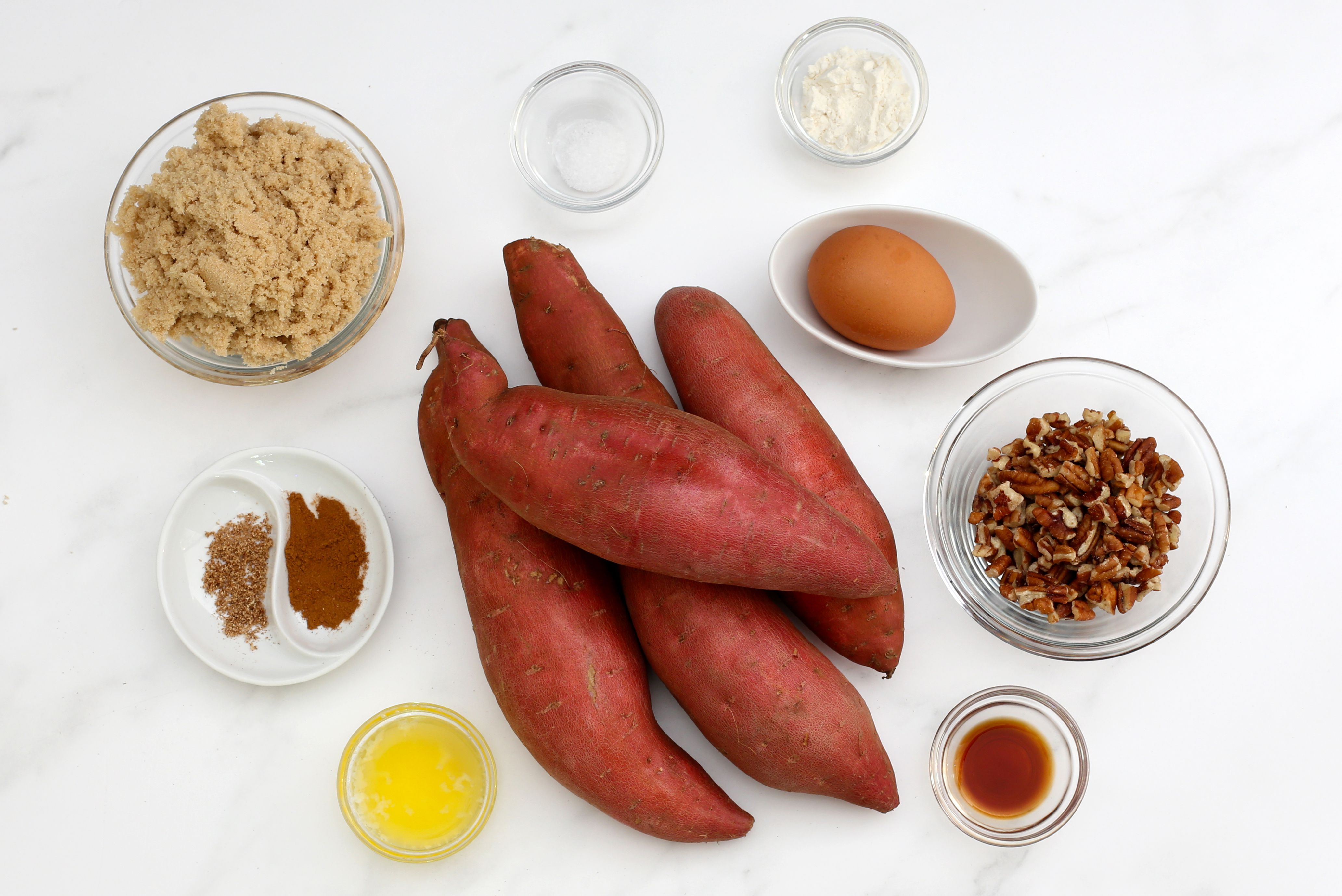 Ingredients for the Instant Pot sweet potato casserole.