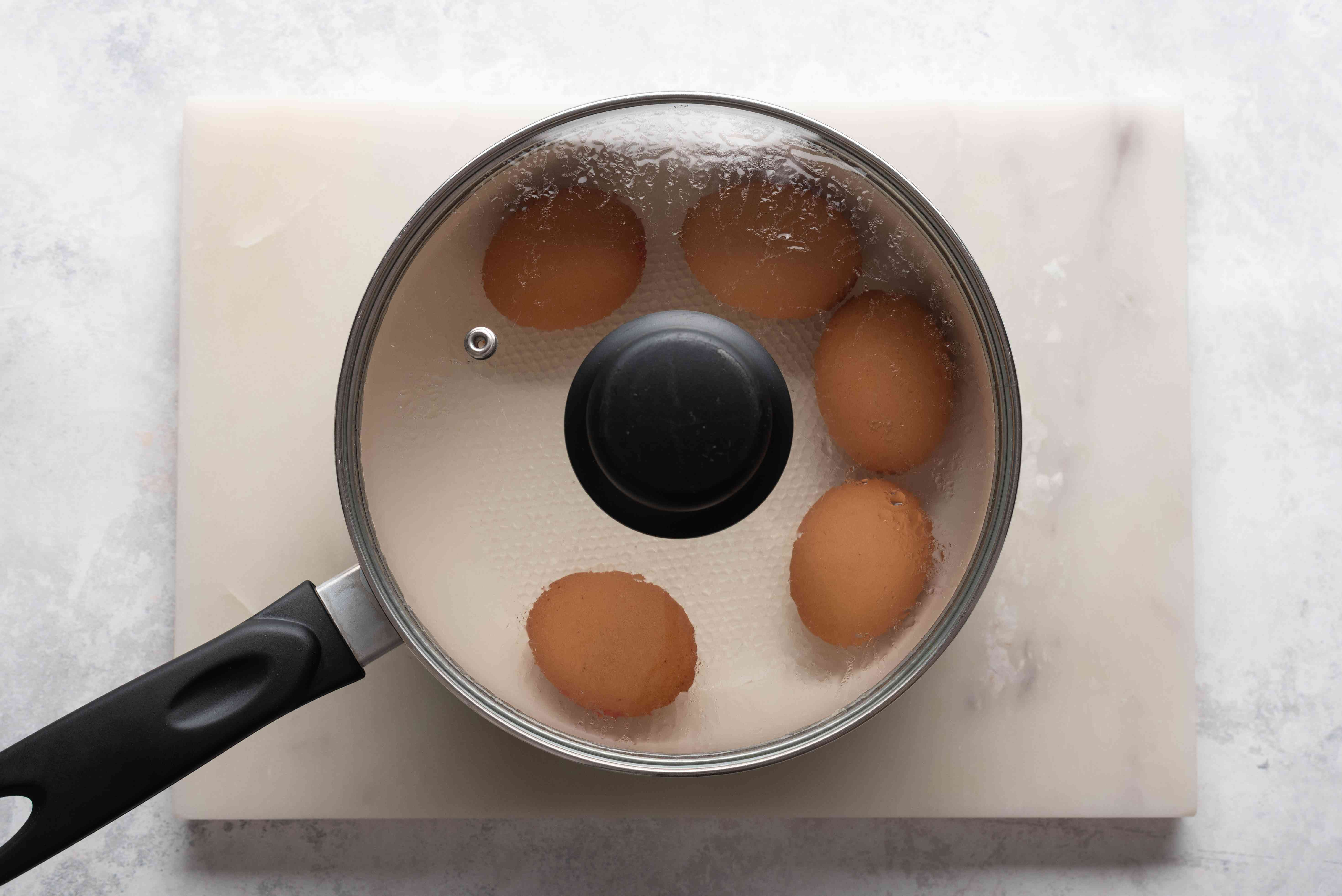 eggs in a pot of water