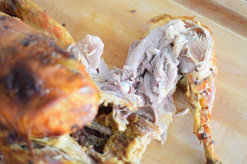Removing leg from turkey