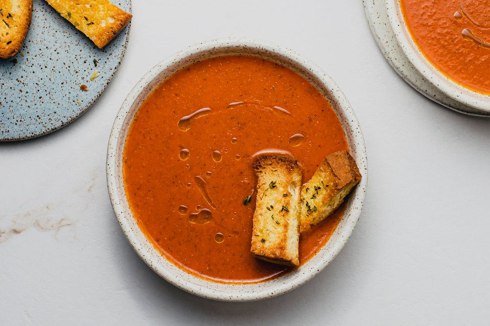Healthy Tomato Basil Soup, bowl of tomato soup with toast