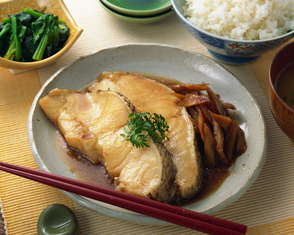 Simmered fish with soy sauce