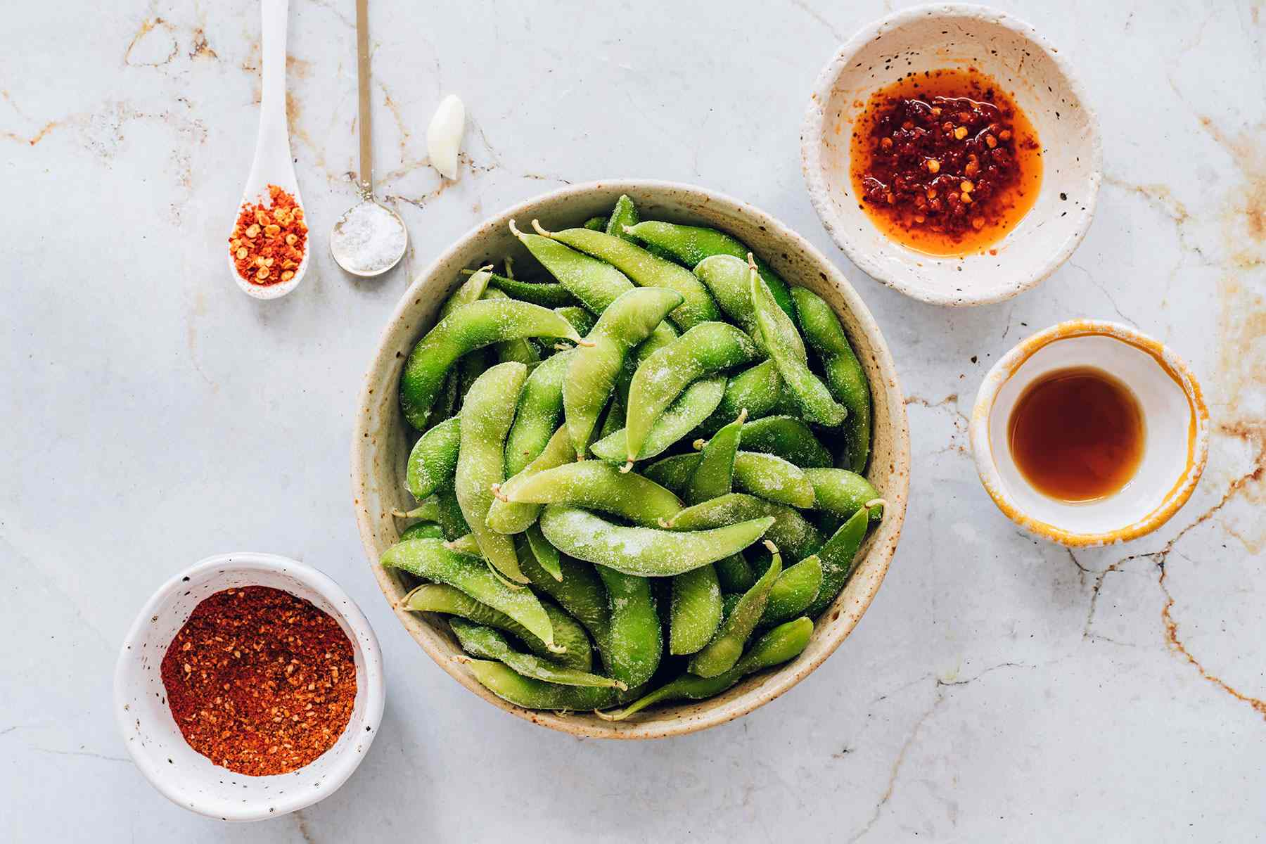 Ingredients for spicy edamame
