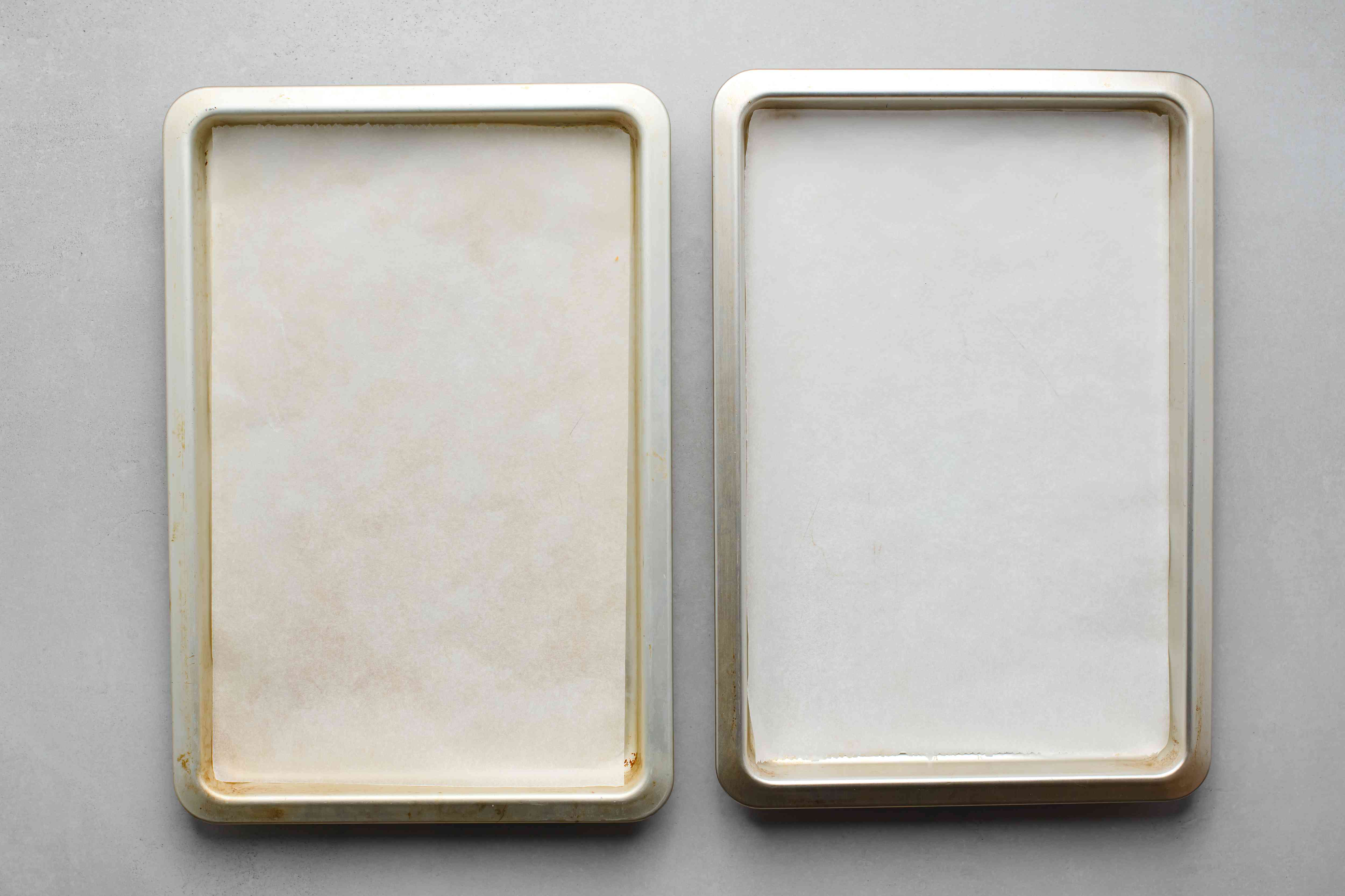 baking trays with parchment paper