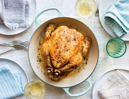 Chicken dinner served with sparkling wine