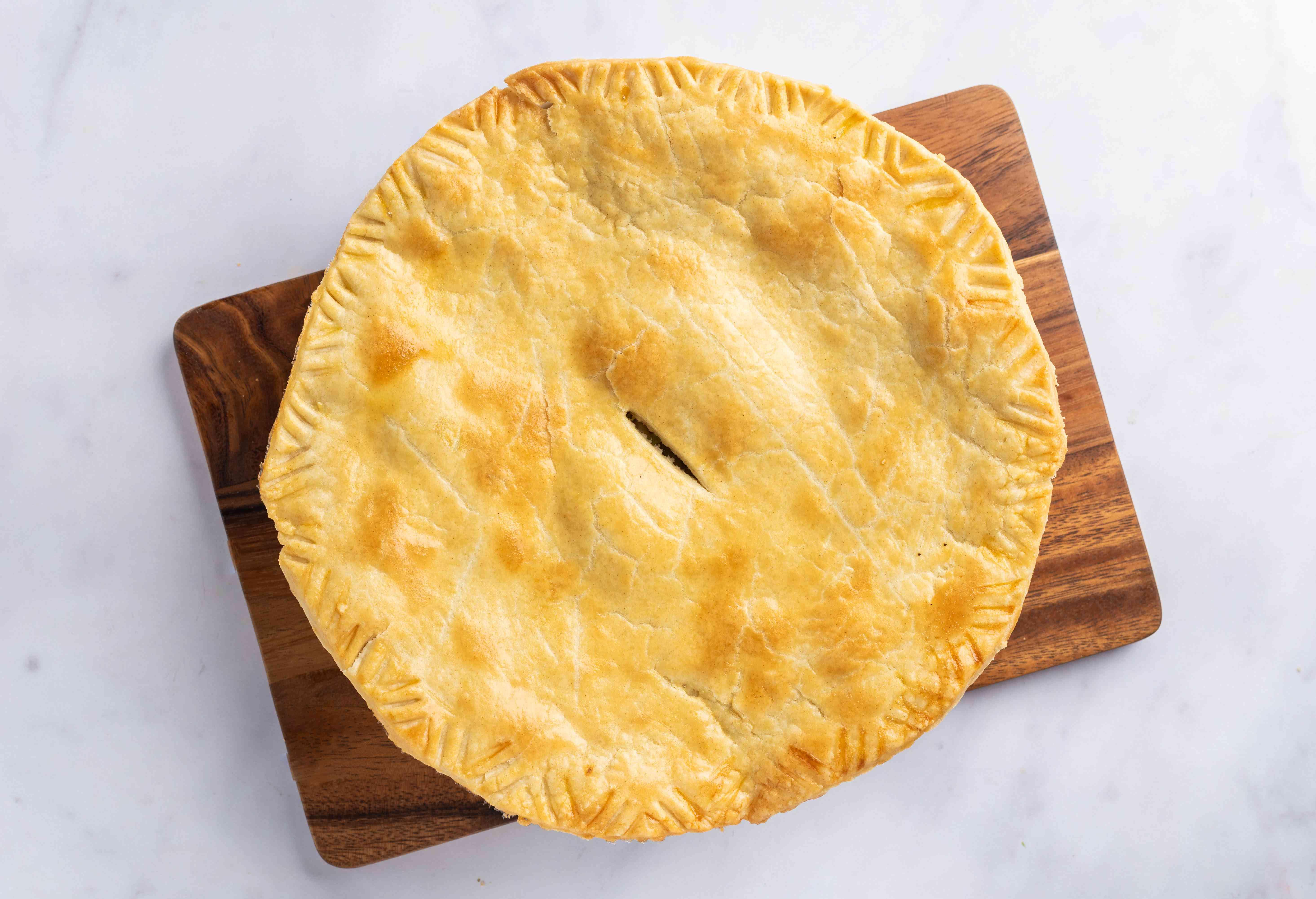 Set pie dish on baking sheet to cool