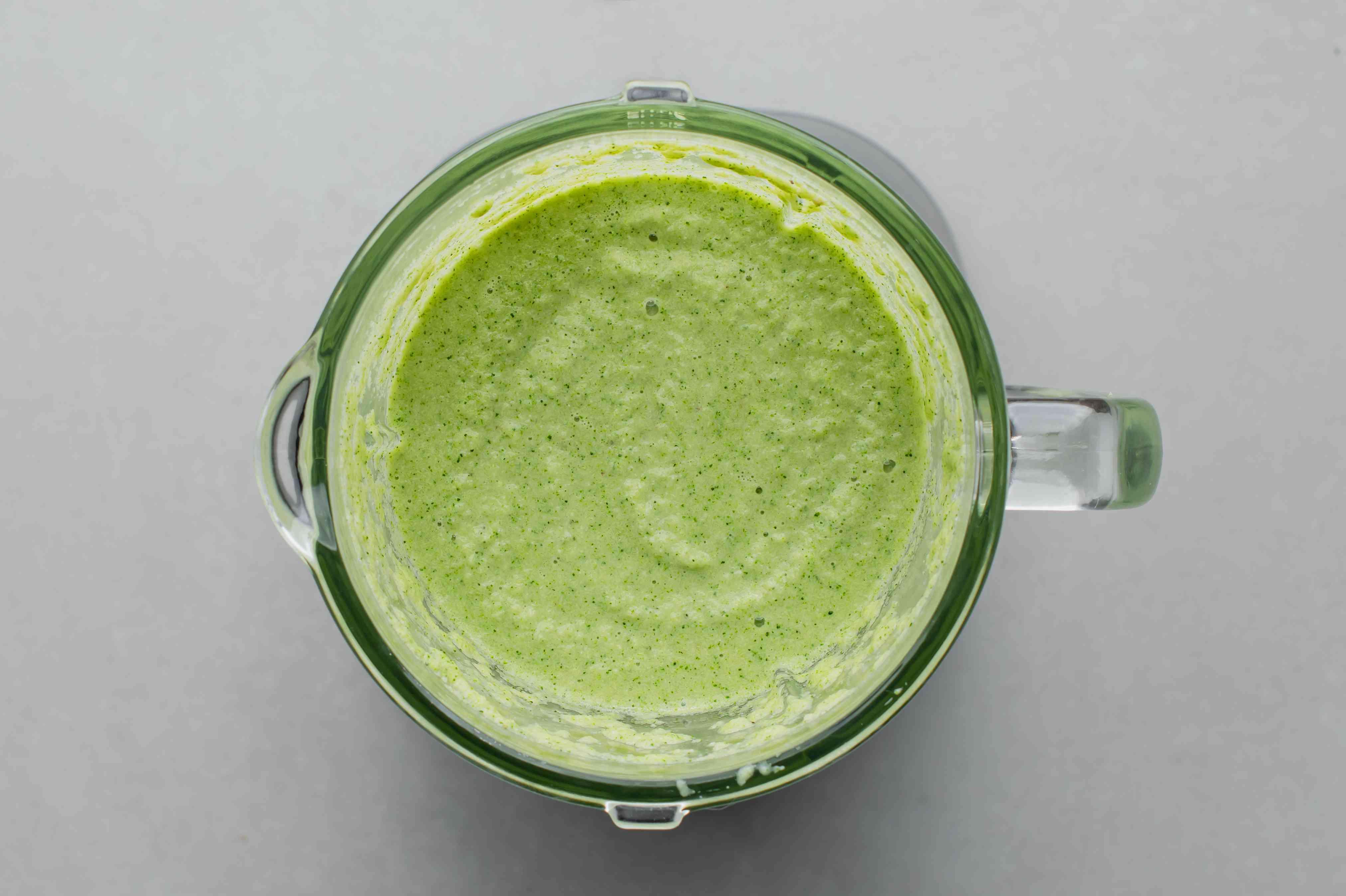 Raw Vegan Cream of Broccoli Soup ingredients in a blender