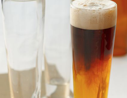 Black and Blue, a Layered Beer Drink