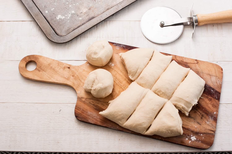 Bolillos dough sliced into 10 pieces