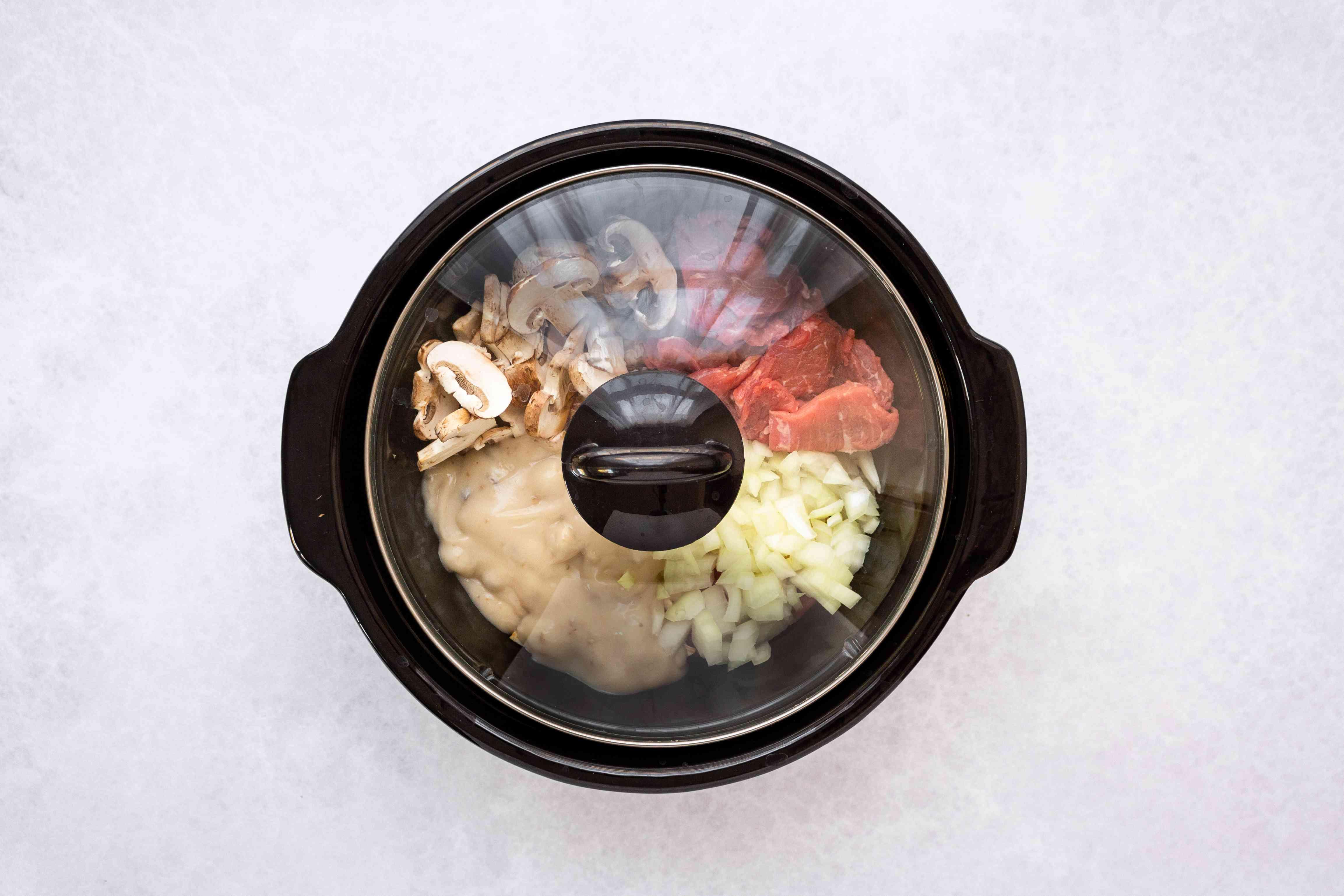 Beef Stroganoff cooking in a Crock Pot