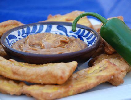 Fried Plantain with Spicy Peanut Sauce - Surinamese Bakabana